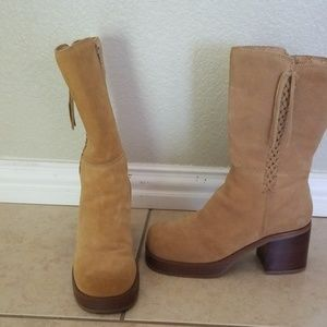 Sketches real suede brown tan Chunky boots